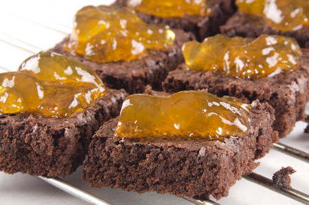 brownie baked with home made orange whiskey marmalade