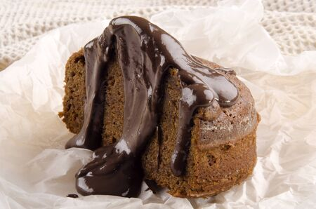 toffee pudding with chocolate sauce on kitchen paper photo