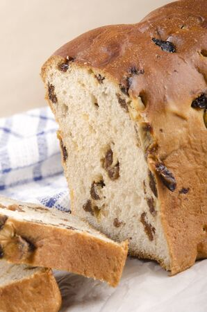 sultanas: fruit loaf with sultanas and mixed peel