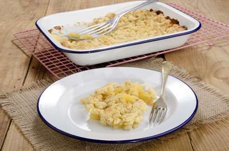 apple crumble: freshly baked apple crumble on a plate