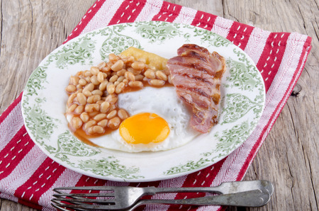 bacon baked beans: baked beans, waffle, grilled bacon and fried egg
