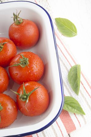 freshly washed tomatoes in an enamel bowl and basil leaves photo