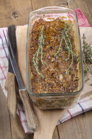meatloaf: baked meatloaf with thyme in a glass casserole