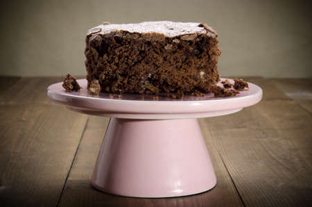 cakestand: home made brownie on a pink cakestand Stock Photo
