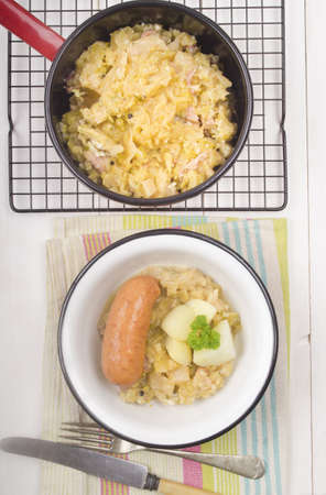 sausage pot: home made cabbage stew and sausage in a bowl