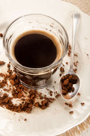 instant coffee: warm instant coffee in a coffee glass