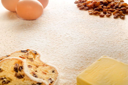stollen: ingredients to produce a christmas stollen Stock Photo