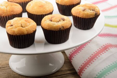 cake stand: home made chocolate chips muffins on a white cake stand