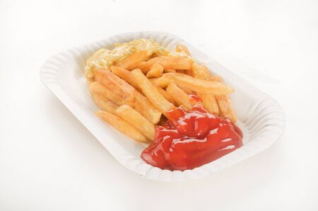 fattening: french fries with tomato ketchup and mayonnaise, called red and white Stock Photo