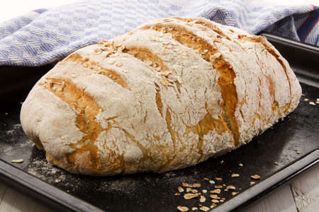 country house style: country house style baked loaf with oatmeal on black baking tray