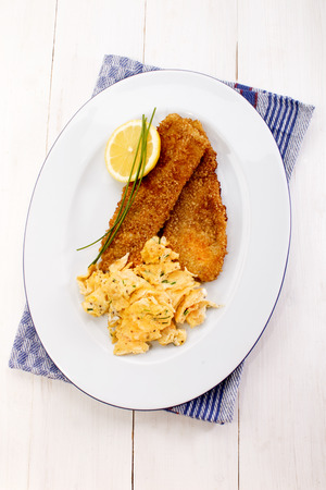 kipper: old full scottish breakfast with kipper fried with oat bran and scrambled eggs