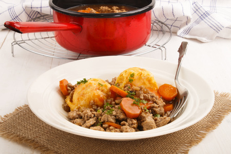 mince and tatties with carrot and parsley, a traditional scottish dish
