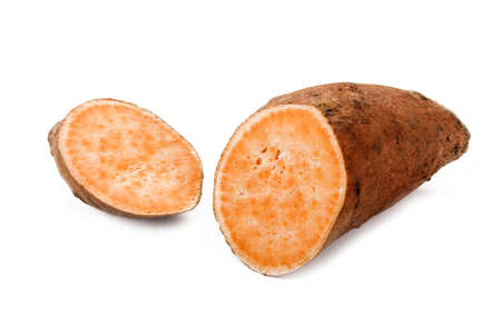cut through: one cut through sweet potato isolated on white background