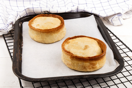 white backing: fresh and warm baked scotch pie with white baking paper on a backing tray Stock Photo