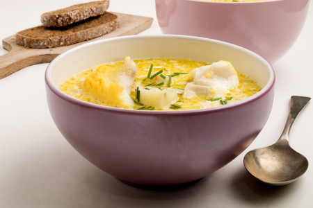 cullen skink, scottish home made soup with smoked haddock, potato and onion, also called haddock chowder with cream and chive