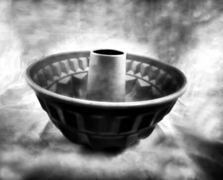 antique cake baking form - This black and white camera obscura photo is NOT sharp due to camera characteristic. Taken on analogue photographic paper with a professional pinhole camera