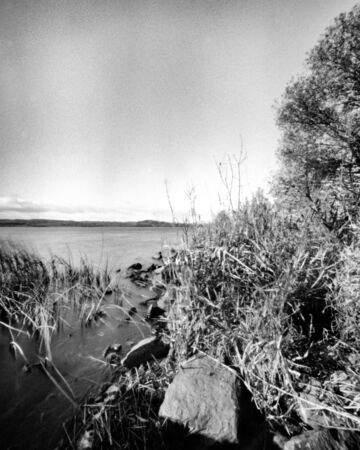 Lake in the autumn - This black and white camera obscura photo is NOT sharp due to camera characteristic. Taken on film with a pinhole camera Standard-Bild