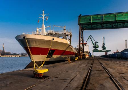 bristle: Container ship in harbour, Szczecin, Poland