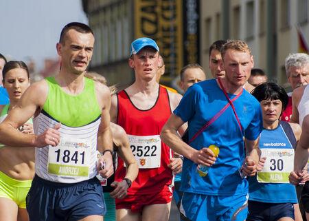 Debno, Poland-April 6, 2014   Runners compete in the 41 Marathon Debno