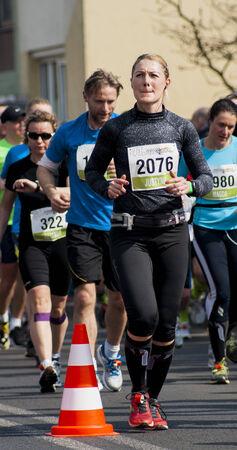 Debno, Poland-April 6, 2014   Woman from the maraton of Debno 2014