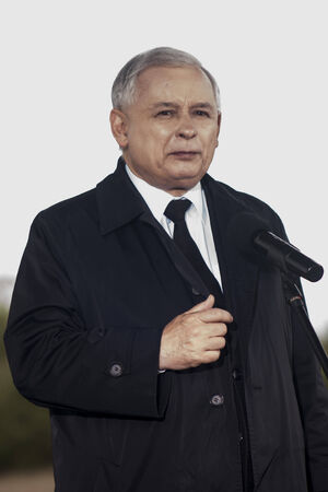 rightwing: Gryfino, Poland-May 14, 2014 Portrait of former polish prime minister Jaroslaw Kaczynski, leader of right-wing, conservative party Law and Justice  PiS