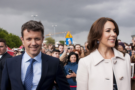 prince of denmark: Szczecin, Poland - Mai 14, 2014  Denmark Prince Frederik and Princess Mary, visit in Poland  Both happy and smilling