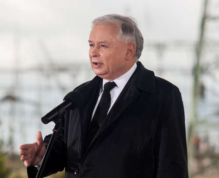 rightwing: Gryfino, Poland-May 14, 2014 Jaroslaw Kaczynski, former polish prime minister, leader of right-wing, conservative party Law and Justice  PiS  Campaign to Eu Parliament  Editorial