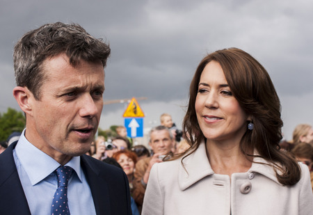prince of denmark: Szczecin, Poland - Mai 14, 2014  Denmark Prince Frederik and Princess Mary visit in Poland  Press conference in harbour  Both happy and smilling