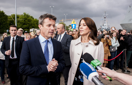 prince of denmark: Szczecin, Poland - Mai 14, 2014  Denmark Prince Frederik and Princess Mary visit in Poland  Press conference in harbour