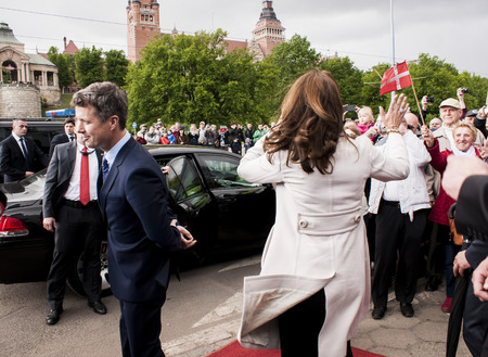 prince of denmark: Szczecin, Poland - Mai 14, 2014  Denmark Prince Frederik and Princess Mary visit in Poland  Princess greets people in harbour