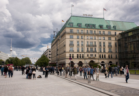 Berlin, Germany - Mai 30, 2014   Hotel Adlon, luxury hotel in Berlin opened in 1907  It is located on Unter den Linden, the main boulevard in the central Mitte district, at the corner with Pariser Platz, directly opposite the Brandenburg Gate and the Memo Editorial