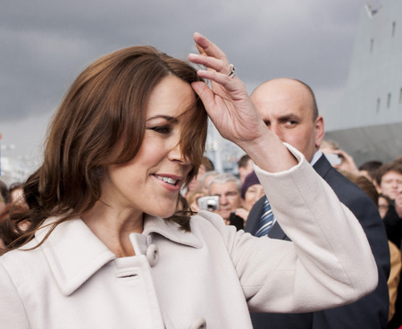 prince of denmark: SZCZECIN, POLAND - MAY 14, 2014  Denmark Princess Mary, during press conference in harbour On 14 May 2014 Szczecin will host the heir to the throne of the Kingdom of Denmark, His Royal Highness Frederik and his wife, Her Royal Highness Mary Elizabeth  The