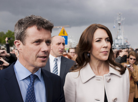 prince of denmark: SZCZECIN, POLAND - MAY 14, 2014  Denmark Prince Frederik and Princess Mary, during press conference in harbour On 14 May 2014 Szczecin will host the heir to the throne of the Kingdom of Denmark, His Royal Highness Frederik and his wife, Her Royal Highness Editorial