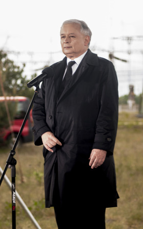 rightwing: GRYFINO, POLAND - MAY 14, 2014 Jaroslaw Kaczynski showing the devil thorns gesture sign Kaczynski is a former polish prime minister, leader of right-wing, conservative party Law and Justice  PiS   Editorial