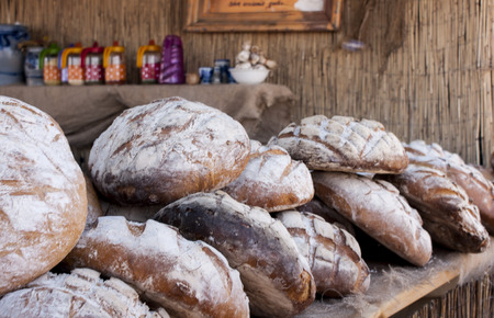 Close-up of delicious floury polish bread photo