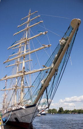 fryderyk chopin: SZCZECIN, POLAND - JUNE 15, 2014  Sail Szczecin 2014 The tall masts of sailing ships fill the harbour for a wonderful three day event perfect for families and those who are sailors at heart  It also has the sailing ship  Fryderyk Chopin   Editorial