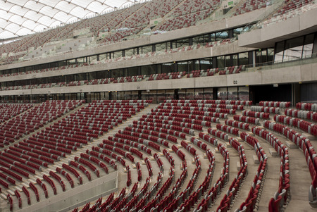 collate: WARSAW, POLAND - AUGUST 18, 2014: Empty National Stadium in Warsaw. The stadium was built for EURO 2012.
