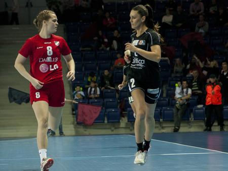 renunciation: SZCZECIN, POLAND - JUNE 21, 2014:Players in action at a Handball Women