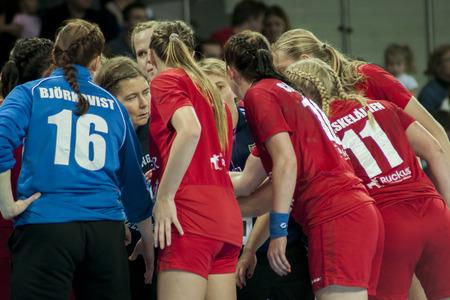 renunciation: SZCZECIN, POLAND - JUNE 21, 2014: Players of handball team HIFK Helsinki during Women