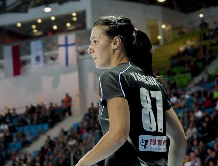 renunciation: SZCZECIN, POLAND - JUNE 21, 2014: Hanna Yashchuk of Pogon, during Handball Women
