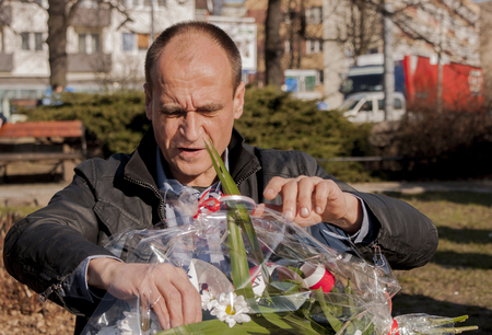 controversial: SZCZECIN, POLAND - MARCH 17, 2015: Pawel Kukiz, Independent candidate for President of the Republic Poland. Kukiz is polish controversial rock star, songwriter and actor.