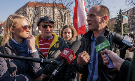controversial: SZCZECIN, POLAND - MARCH 17, 2015: Pawel Kukiz, Independent candidate for President of the Republic Poland, during Press Conference. Kukiz is polish controversial rock star, songwriter and actor.