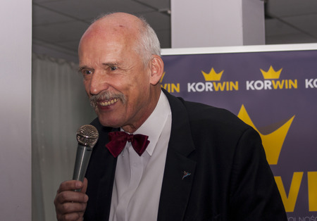 commentator: GOLENIOW, POLAND - MARCH 18, 2015: Janusz Korwin Mikke, candidate for President of the Republic Poland. Janusz Korwin Mikke is also Member of the European Parliament, and political commentator.