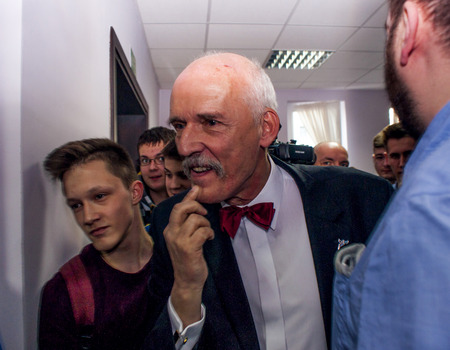 GOLENIOW, POLAND - MARCH 18, 2015: Janusz Korwin Mikke, candidate for President of the Republic Poland, during meeting with voters. Janusz Korwin Mikke is also Member of the European Parliament, and political commentator.