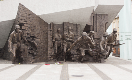 insurrection: Warsaw, Poland - August 19, 2014: Monument to the 1944 Warsaw Uprising Editorial