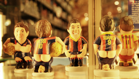 ass christmas: BARCELONA, SPAIN - Februar 09, 2016, Caganers, originally a character in Catalan mythology, now portraying famous celebrities or characters