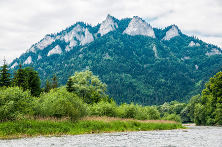 rafter: The Dunajec River in Poland. Mountains landscape. Stock Photo