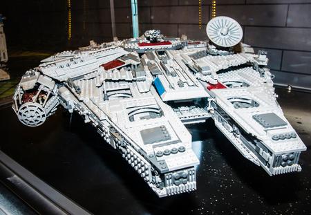 SZCZECIN, POLAND - FEBRUAR 27, 2016: Star Wars Millennium Falcon Starship, made by Lego blocks. Lego is a popular line of construction toys popular with kids and collectors worldwide. Redakční