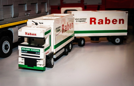 SZCZECIN, POLAND - FEBRUAR 27, 2016: Truck Daf xf with Raben company logo, made by Lego blocks. Lego is a popular line of construction toys popular with kids and collectors worldwide. Editorial