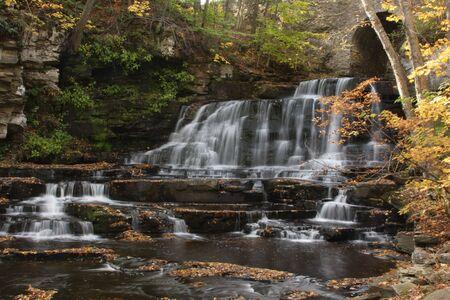 Little Niagra waterfall in autumn; Pleasant Mount, PA
